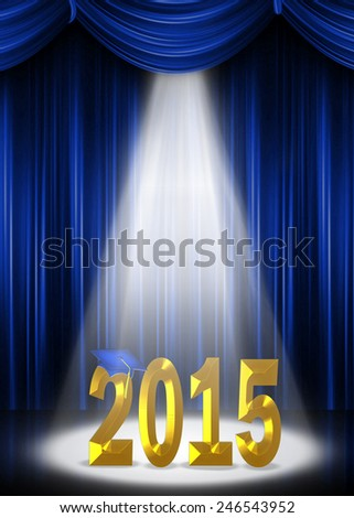 gold 2015 in the spotlight for graduation class of 2015 - stock photo