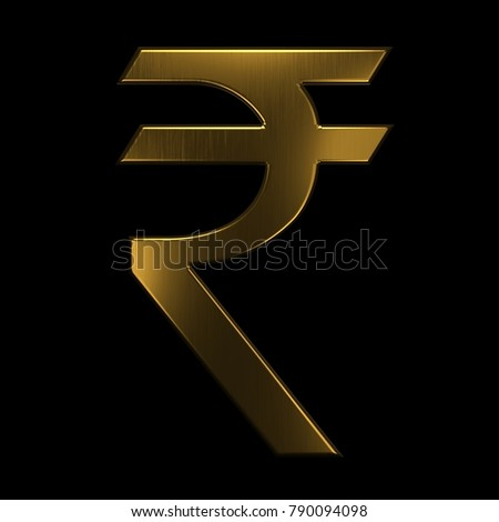 Gold Indian Rupee Symbol 3 D Rendering Stock Illustration 790094098