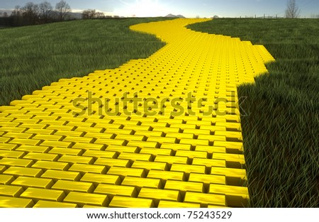 Gold ingod road in grass with sky - stock photo