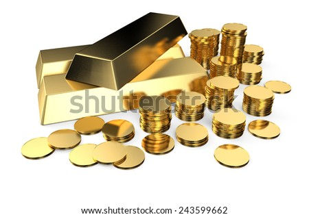 Gold ingots and coins isolated on  white background  - stock photo