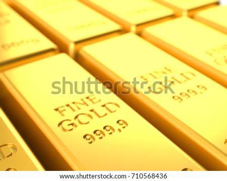 Gold ingots close-up. 3d illustration