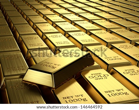 Gold ingots in a row. Wealth concept. - stock photo
