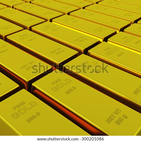 Gold ingots with depth of field - stock photo