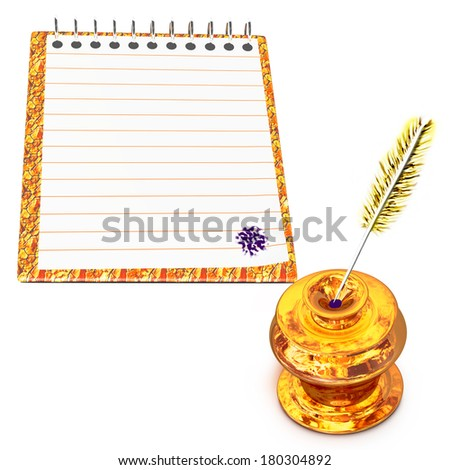 Gold inkwell and notebook with a feather - stock photo