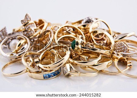 Gold jewelry - stock photo