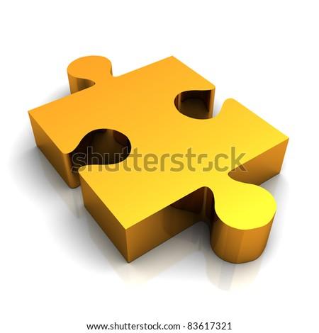 Gold jigsaw puzzle piece - stock photo