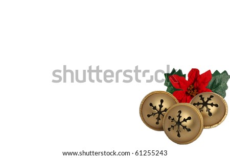 Gold Jingle Bells with Red Poinsettias - stock photo