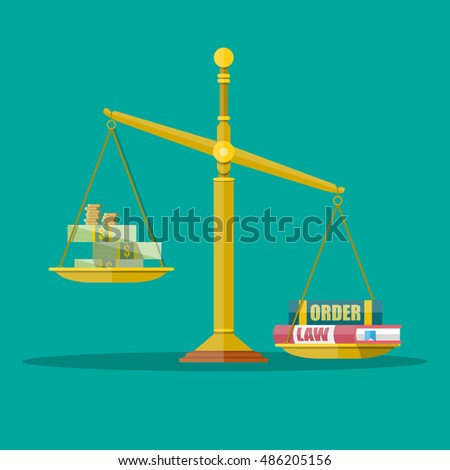 Gold Justice scales with dollar cash, coins and law, order books. making decision beetwin money and law. illustration in flat style on green background