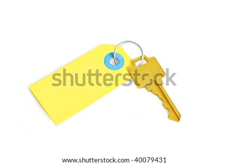 gold key on yellow tag