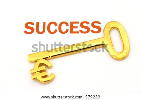 "Gold key with euro symbol next to the word ""success"""