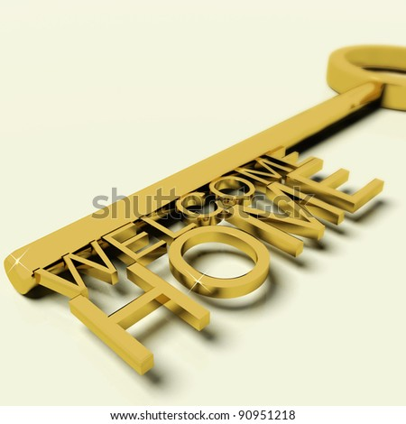 Gold Key With Welcome Home Text As Symbol For Property And Ownership - stock photo
