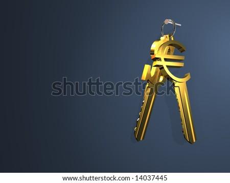 Gold keys as symbols of a dollar and euro. - stock photo