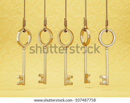 gold keys hang on a rope isolated