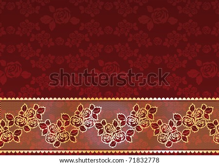 Gold Lace Roses. Bitmap copy my vector ID 45307963