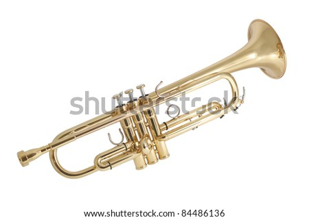 gold lacquer trumpet with gold plated mouthpiece - stock photo