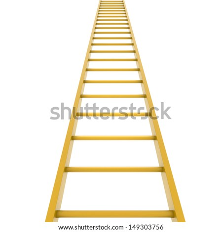 Gold ladder. Isolated render on white background