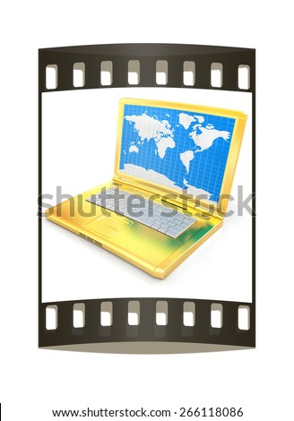 Gold laptop with world map on screen on a white background. The film strip - stock photo