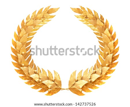 Gold laurel wreath - a symbol of the winner or valor and mind - stock photo