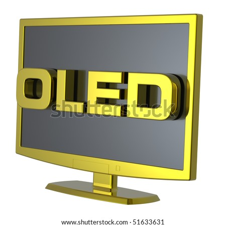 Gold Lcd tv monitor on white background. Computer generated 3D photo rendering.