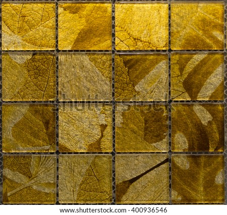 gold leaf pattern  mosaic tile. seamless texture - stock photo