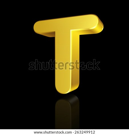 Gold letter T in 3D isolated on black background - stock photo