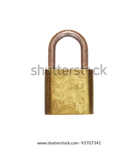 Gold lock isolated on white background
