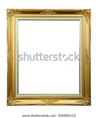 Gold louise photo frame over white background - stock photo
