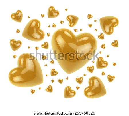 Gold love hearts isolated on white background. - stock photo