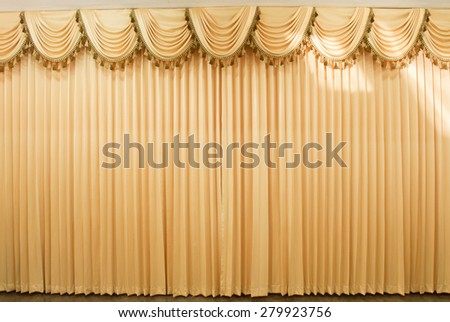 Gold luxury stage curtains  - stock photo