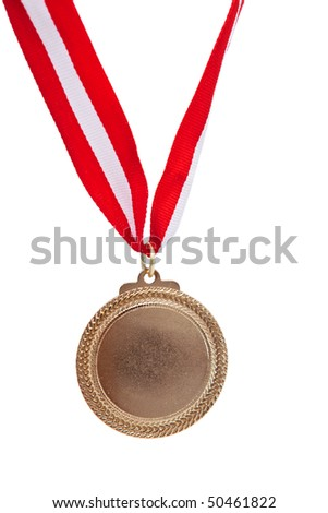 gold medal close up on white background