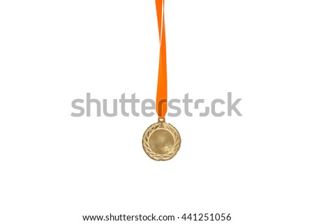 Gold medal on isolated white background
