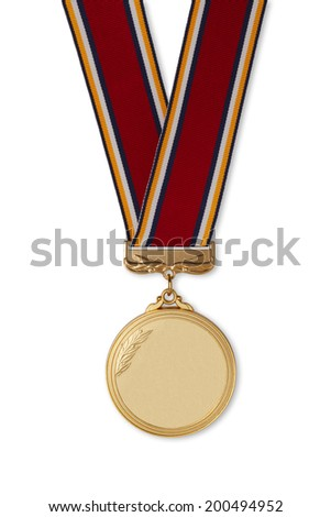 Gold medal on white background/with clipping path