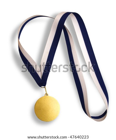 Gold medal with blue and white ribbon