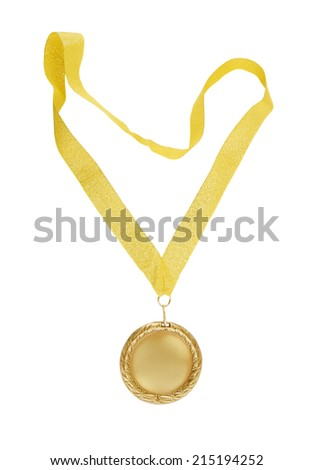 Gold medal with golden ribbon isolated on white - stock photo