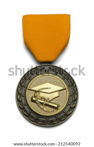 Gold Medal With Graduation Hat and Scroll Isolated on White Background. - stock photo