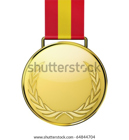 Gold medal with laurel (3d illustration) - stock photo