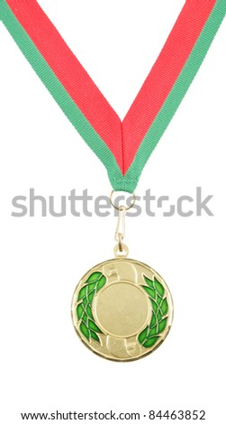 Gold medal with ribbon isolated on white
