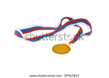gold medal with tricolor ribbon - stock photo