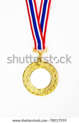 gold medal with your own logo or text in the center, isolated on white
