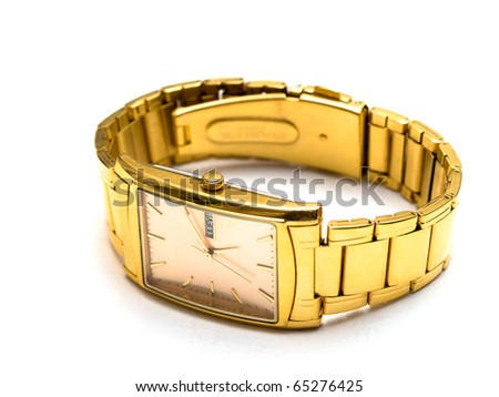 gold men's wristwatch on a white background - stock photo