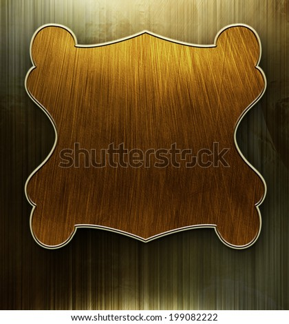Gold metal construction. Iron nameplate background