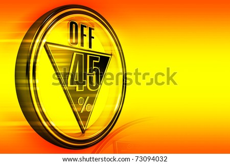 Gold metal forty-five percent off on orange background - stock photo