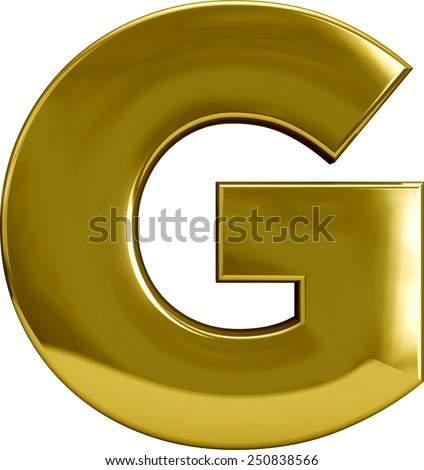 Gold Metal G letter character isolated on white. Including clipping path. Part of complete alphabet set. - stock photo