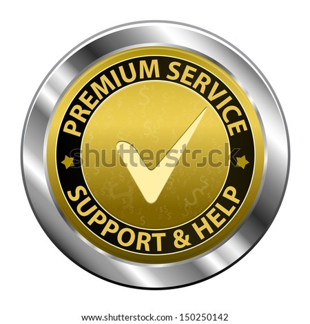Gold metal label Customer premium service and support icon or symbol isolated on white background. Vector illustration - stock photo