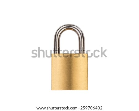 Gold metal padlock isolated on white background with clipping path - stock photo