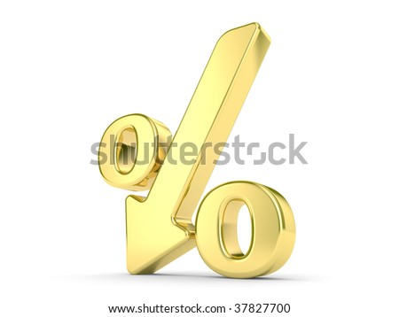 gold metal percentage symbol with an arrow down - stock photo