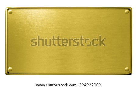 gold metal plaque or plate isolated - stock photo