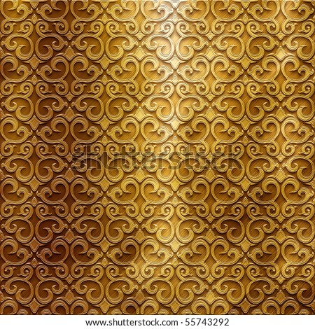Gold metal plate with classic ornament (big collection) - stock photo