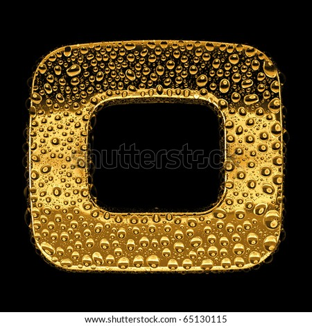 Gold metal three-dimensional alphabet symbol - digit 0. Covered with drops of clear water on glossy metal. Isolated on black - stock photo