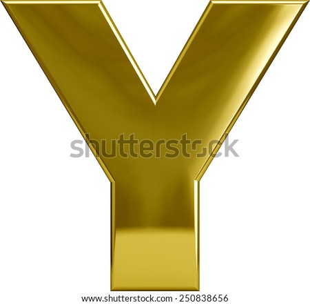 Gold Metal Y letter character isolated on white. Including clipping path. Part of complete alphabet set.